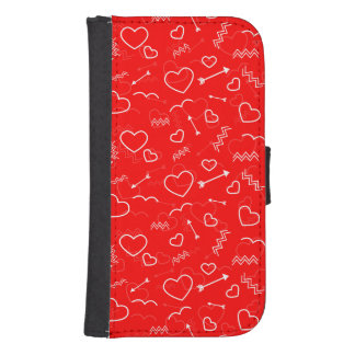 Lipstick Red White Valentines Love Heart and Arrow Samsung S4 Wallet Case