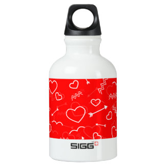 Lipstick Red White Valentines Love Heart and Arrow Water Bottle