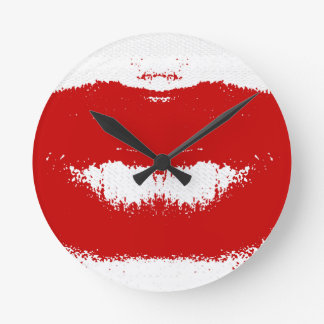 Lipstick Smudge on Tissue Wall Clocks