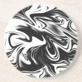 Liquefied Black White Marble, Coaster