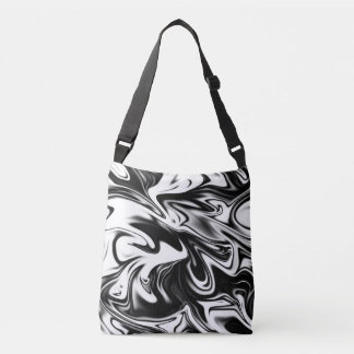 Liquefied Black White Marble Pattern, Crossbody Bag