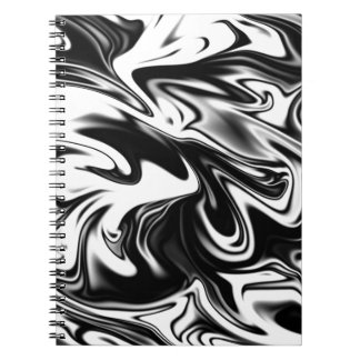 Liquefied Black White Marble, Spiral Notebook