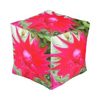 Liquefied Pink Rose Pattern, Full Print Pouffe. Pouf