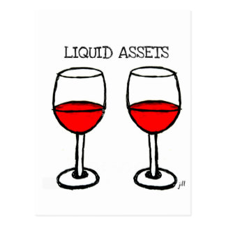 """LIQUID ASSETS"" FUN RED WINE PRINT POSTCARD"