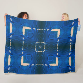 Liquid Blue Paint Mandala Fleece Blanket