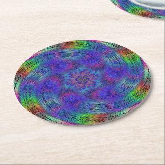 Liquid rainbow round paper coaster