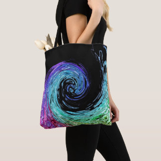 Liquid Rainbow Wave Tote Bag