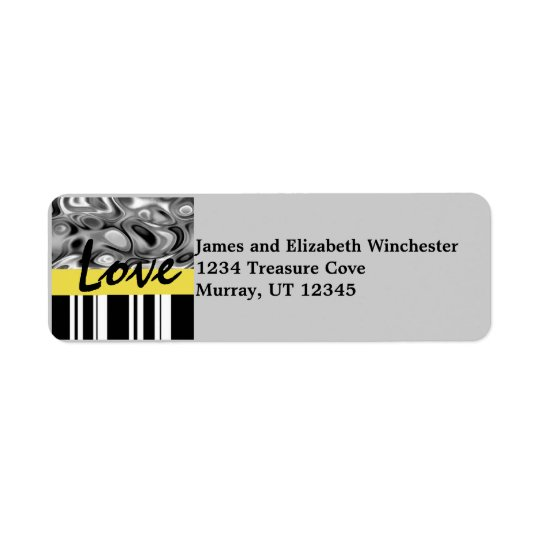 Liquid Stripe Love Address Labels