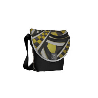 Liquid Taxi Cab, a Yellow Checkered Retro Fractal Messenger Bag