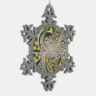 Liquid Taxi Cab, a Yellow Checkered Retro Fractal Snowflake Pewter Christmas Ornament