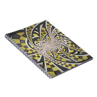 Liquid Taxi Cab, a Yellow Checkered Retro Fractal Spiral Notebook