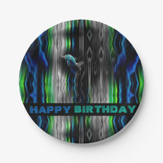 Liquid Vibrations Dolphin Neon 7 Inch Paper Plate