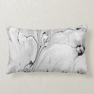 Liquid wet texture, black and white design lumbar cushion