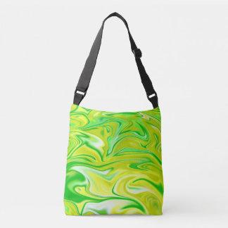 Liquidized Yellow Green Marble Pattern, Crossbody Bag