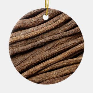 Liquorice root round ceramic decoration
