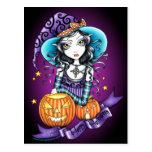 """""""Lisa"""" Halloween Pumpkin Witch Postcard"""