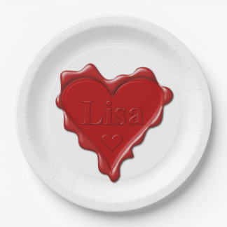 Lisa. Red heart wax seal with name Lisa Paper Plate