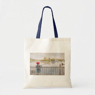 Lisbet Fishing by Carl Larsson, Vintage Fine Art Tote Bag