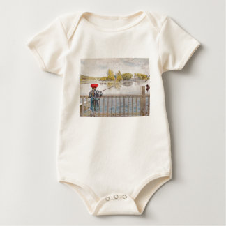 Lisbeth Fishing by Carl Larsson Baby Bodysuit