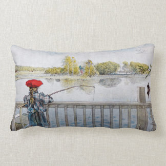 Lisbeth Fishing by Carl Larsson Lumbar Cushion