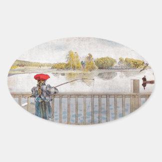 Lisbeth Fishing by Carl Larsson Oval Sticker