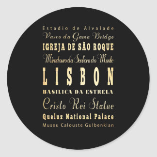 Lisbon City of Portugal Typography Art Classic Round Sticker