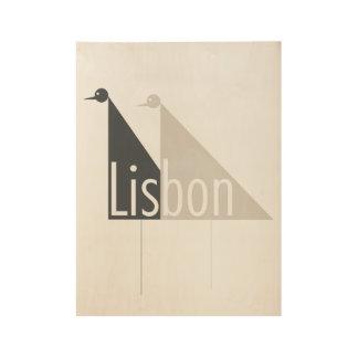 Lisbon - I miss you. Wood Poster