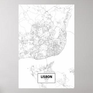 Lisbon, Portugal (black on white) Poster