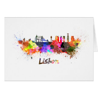 Lisbon skyline in watercolor card
