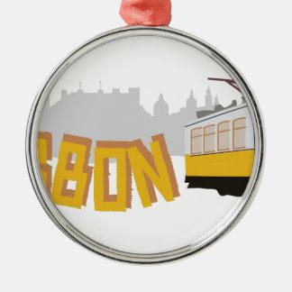 Lisbon Tram Metal Ornament