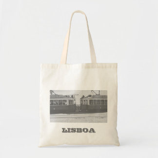 Lisbon trams with writing tote bag