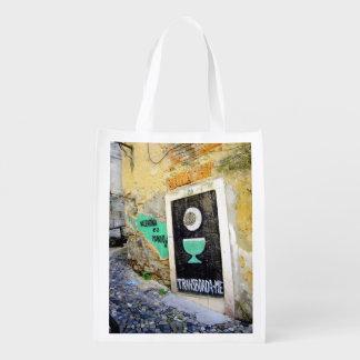 LISBON URBAN GRAFFITI PHOTOGRAPH REUSABLE GROCERY BAG