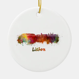 Lisbon V2 skyline in watercolor Ceramic Ornament