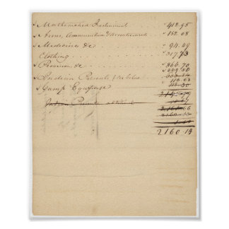 List of Purchases made by Meriwether Lewis Poster