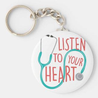 Listen To Heart Basic Round Button Key Ring