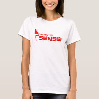 Listen to Sensei (Womens) White/Red T-Shirt