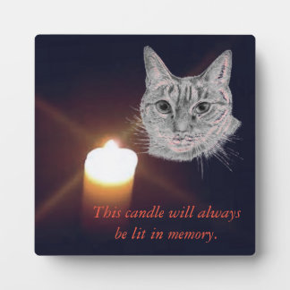 Lit Candle In Memory Of Cat Plaque