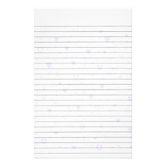 Lite Purple Hearts Lined Stationery
