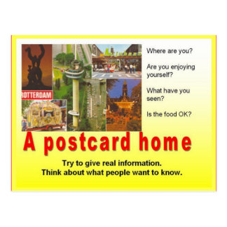 Literacy, travel writing, Write a postcard home