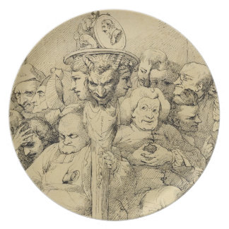 Literary Characters Assembled Around the Medallion Dinner Plates