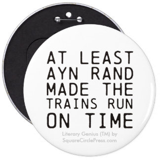 Literary Genius Ayn Rand Trains Buttons