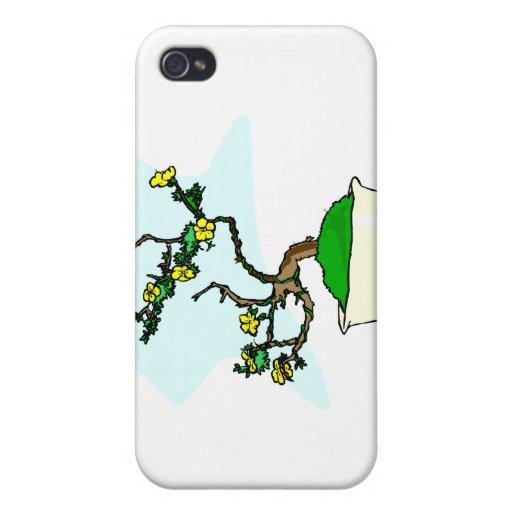 Literati bonsai yellow flowers in white pot graphi iPhone 4 cover