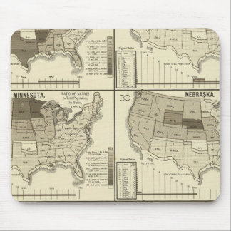 lithographed maps of United States Mousepad