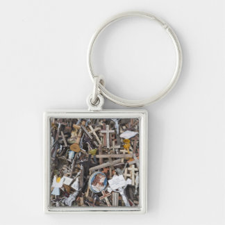 Lithuania, Central Lithuania, Siauliai, Hill 2 Silver-Colored Square Key Ring