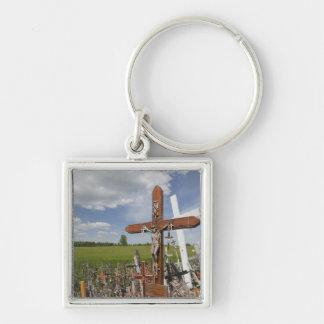 Lithuania, Central Lithuania, Siauliai, Hill Silver-Colored Square Key Ring