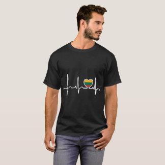 Lithuania Country Flag Heartbeat Pride Tshirt