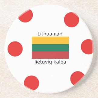 Lithuania Flag And Lithuanian Language Design Coaster