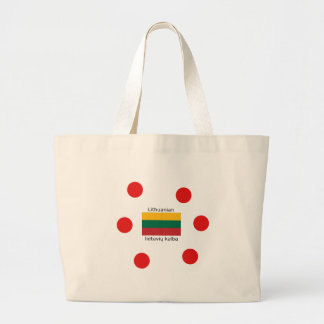 Lithuania Flag And Lithuanian Language Design Large Tote Bag