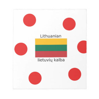 Lithuania Flag And Lithuanian Language Design Notepad