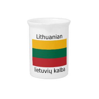 Lithuania Flag And Lithuanian Language Design Pitcher